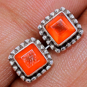 Faceted Carnelian 925 Sterling Silver Stud Earrings Jewelry CRFS123