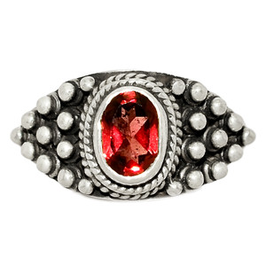 Faceted Garnet 925 Sterling Silver Ring Jewelry s.6 GNFR747