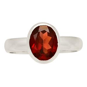 Faceted Garnet 925 Sterling Silver Ring Jewelry s.6.5 GNFR713