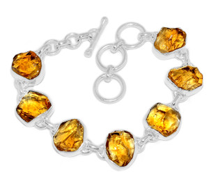 19g Citrine Rough 925 Sterling Silver Bracelet Jewelry CTRB13