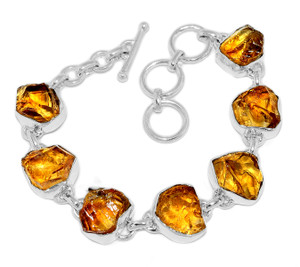 22g Citrine Rough 925 Sterling Silver Bracelet Jewelry CTRB15