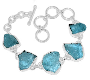 19g Aquamarine Rough 925 Sterling Silver Bracelet Jewelry AQRB50