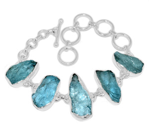 22g Aquamarine Rough 925 Sterling Silver Bracelet Jewelry AQRB45