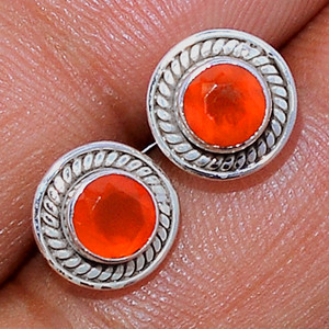 Faceted Carnelian 925 Sterling Silver Stud Earrings Jewelry CRFS131
