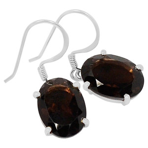 Smokey Quartz 925 Sterling Silver Earrings Jewelry E2116S