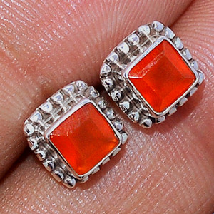 Faceted Carnelian 925 Sterling Silver Stud Earrings Jewelry CRFS113