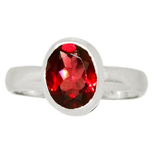 Faceted Garnet 925 Sterling Silver Ring Jewelry s.6 GNFR760