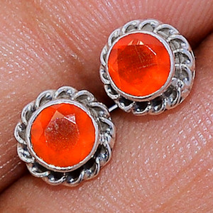 Faceted Carnelian 925 Sterling Silver Stud Earrings Jewelry CRFS133