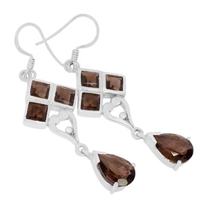 Smokey Quartz 925 Sterling Silver Earrings Jewelry E2139S