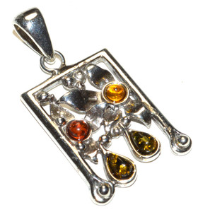 Authentic Baltic Amber 925 Sterling Silver Pendant Jewelry JB167326