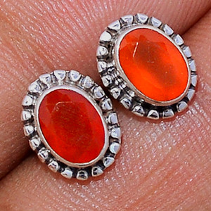 Faceted Carnelian 925 Sterling Silver Stud Earrings Jewelry CRFS130