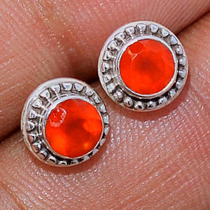 Faceted Carnelian 925 Sterling Silver Stud Earrings Jewelry CRFS114