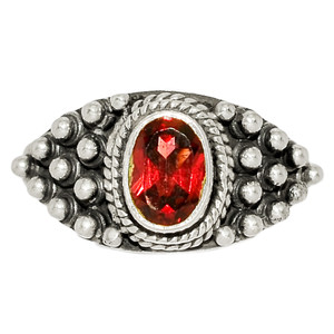 Faceted Garnet 925 Sterling Silver Ring Jewelry s.6 GNFR770