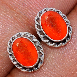 Faceted Carnelian 925 Sterling Silver Stud Earrings Jewelry CRFS127