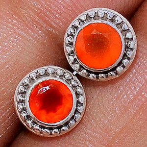 Faceted Carnelian 925 Sterling Silver Stud Earrings Jewelry CRFS143
