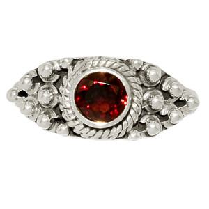 Faceted Garnet 925 Sterling Silver Ring Jewelry s.6 GNFR745