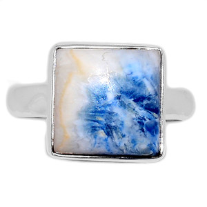 Blue Scheelite 925 Sterling Silver Ring Jewelry s.9.5 BSLR141