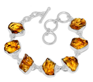 21g Citrine Rough 925 Sterling Silver Bracelet Jewelry CTRB11