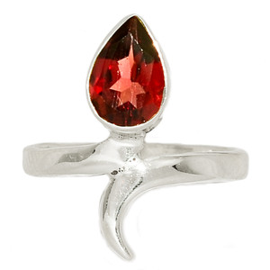 Faceted Garnet 925 Sterling Silver Ring Jewelry s.6.5 GNFR754