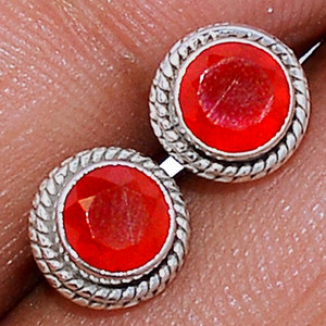 Faceted Carnelian 925 Sterling Silver Stud Earrings Jewelry CRFS137