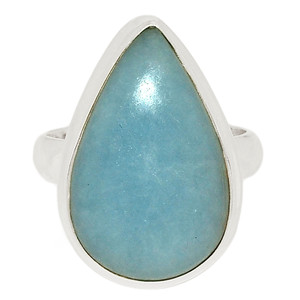 Angelite 925 Sterling Silver Ring Jewelry s.6.5 ANGR241