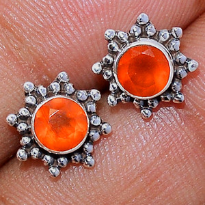 Faceted Carnelian 925 Sterling Silver Stud Earrings Jewelry CRFS119