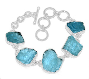 19g Aquamarine Rough 925 Sterling Silver Bracelet Jewelry AQRB47