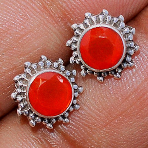 Faceted Carnelian 925 Sterling Silver Stud Earrings Jewelry CRFS121