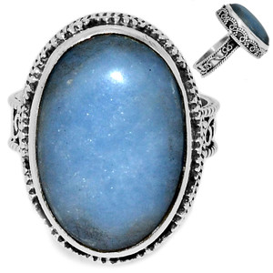 Angelite 925 Sterling Silver Ring Jewelry s.7.5 ANGR227