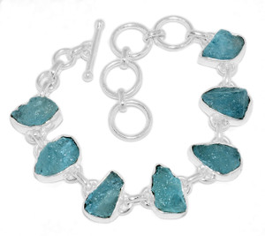 18g Aquamarine Rough 925 Sterling Silver Bracelet Jewelry AQRB53