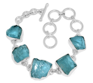 21g Aquamarine Rough 925 Sterling Silver Bracelet Jewelry AQRB34