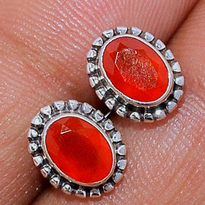 Faceted Carnelian 925 Sterling Silver Stud Earrings Jewelry CRFS132