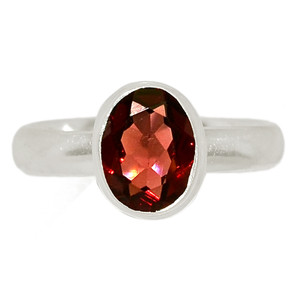 Faceted Garnet 925 Sterling Silver Ring Jewelry s.6.5 GNFR737