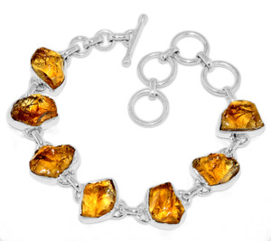 20g Citrine Rough 925 Sterling Silver Bracelet Jewelry CTRB12