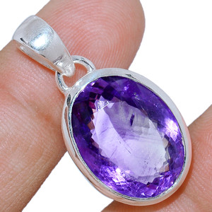 Faceted Amethyst 925 Sterling Silver Pendant  Jewelry AMFP1599