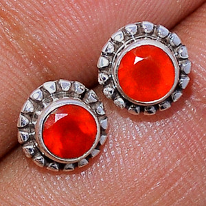 Faceted Carnelian 925 Sterling Silver Stud Earrings Jewelry CRFS120