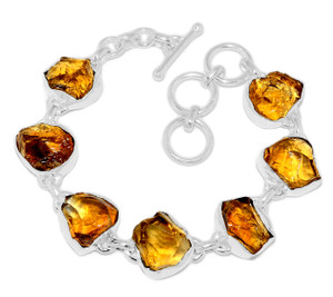 21g Citrine Rough 925 Sterling Silver Bracelet Jewelry CTRB20