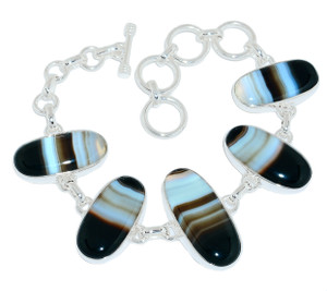 28g Banded Agate 925 Sterling Silver Bracelet Jewelry BBAB73