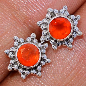 Faceted Carnelian 925 Sterling Silver Stud Earrings Jewelry CRFS136