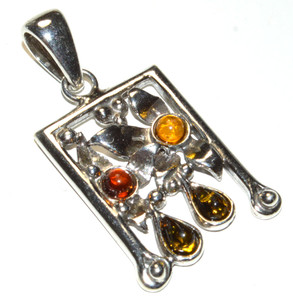 Authentic Baltic Amber 925 Sterling Silver Pendant Jewelry JB167325