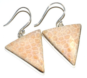 Indonesian Fossil Coral 925 Sterling Silver Earrings Jewelry JB16716