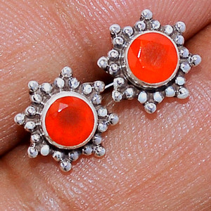 Faceted Carnelian 925 Sterling Silver Stud Earrings Jewelry CRFS129