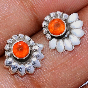 Faceted Carnelian 925 Sterling Silver Stud Earrings Jewelry CRFS134
