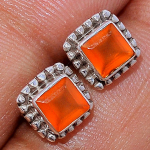 Faceted Carnelian 925 Sterling Silver Stud Earrings Jewelry CRFS140