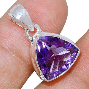 Faceted Amethyst 925 Sterling Silver Pendant  Jewelry AMFP1603