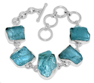 22g Aquamarine Rough 925 Sterling Silver Bracelet Jewelry AQRB33