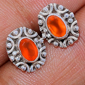 Faceted Carnelian 925 Sterling Silver Stud Earrings Jewelry CRFS138