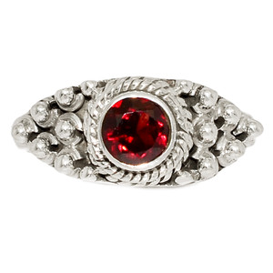 Faceted Garnet 925 Sterling Silver Ring Jewelry s.6 GNFR715