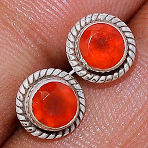 Faceted Carnelian 925 Sterling Silver Stud Earrings Jewelry CRFS139