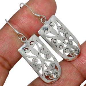 Crystal 925 Sterling Silver Earrings Stud Jewelry CRYE500